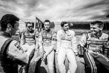 Driver Collective Shoot - Kazuki Nakajima (JPN) / Tom Kristensen (DNK) / Andre Lotterer (DEU) / Neel Jani (SUI) / Alexandre Imperatori (SUI) Relaxing before shoot / Driver Collective / 24 Heures du Mans / Circuit De La Sarthe / France