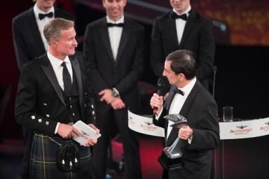 2017 Autosport AwardsGrosvenor House Hotel, Park Lane, London.Sunday 3 December 2017.WEC Champions Brendon Hartley, Timo Bernhard and Earl Bamber present the John Bolster award to Pierre Fillon on behalf of the Automobile Club de l'Ouest.World Copyrig