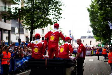 Drivers parade - #51 AF CORSE / ITA / Ferrari 488 GTE / James Calado (GBR) / Alessandro Pier Guidi (ITA) / Daniel Serra (BRA) - 24 hours of Le Mans  - Circuit de la Sarthe - Le Mans - France -