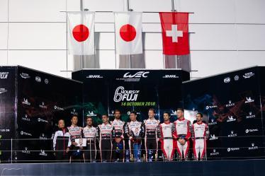 Podium - #7 TOYOTA GAZOO RACING / JPN / Toyota TS050 - Hybrid - Hybrid / Mike Conway (GBR) / Kamui Kobayashi (JPN) / Jose Maria Lopez (ARG) - #8 TOYOTA GAZOO RACING / JPN / Toyota TS050 - Hybrid - Hybrid / Sebastien Buemi (CHE) / Fernando Alonso (ESP) / Kazuki Nakajima (JPN) - #1 REBELLION RACING / CHE / Rebellion R-13 -Gibson - Neel Jani (CHE) / Andre Lotterer (DEU) / Bruno Senna (BRA) -6 hours of Fuji - Fuji Speedway - Oyama - Japan -