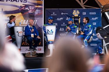 Live stage interview, #47 CETILAR VILLORBA CORSE / ITA / Dallara P217 - Gibson / Roberto Lacorte (ITA) / Giorgio Sernagiotto (ITA) / Andrea Belicchi (ITA) - 24 Hours of Le Mans Super Finale - Circuit de la Sarthe - Le Mans - France -