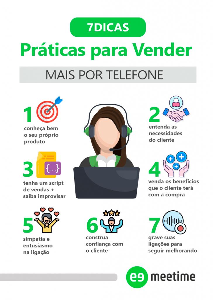 Infográfico listando 7 dicas de vendas por telefone