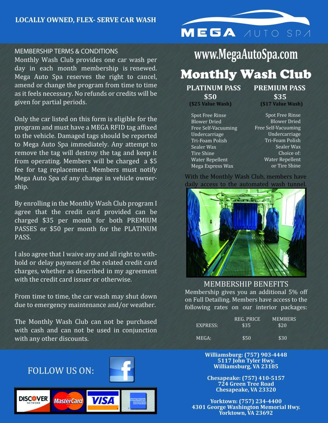 MEGA Monthly Washclub Brochure