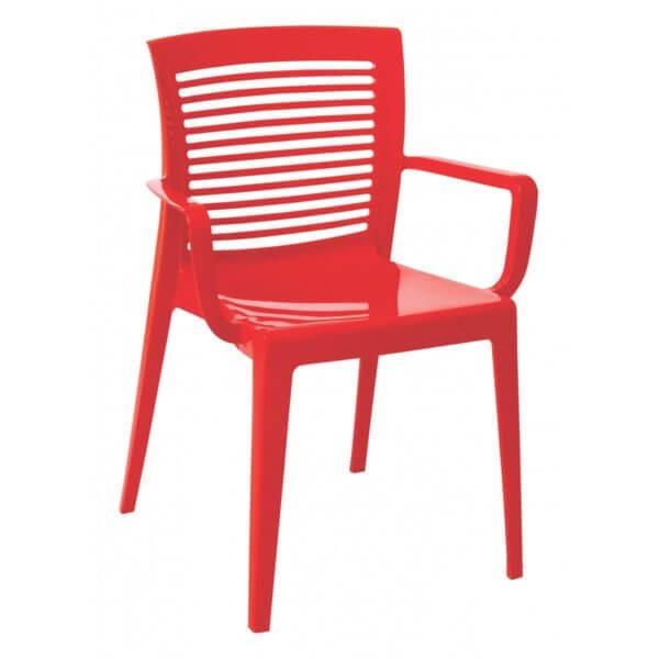 Cadeira Victória Encosto Vazado com Braços - Tramontina - Vermelha