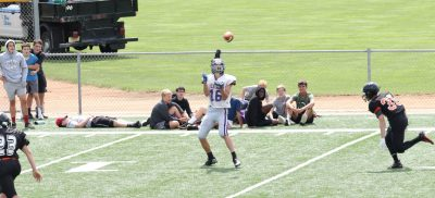 Brenton Weinstein about to catch a pass and run in for a touchdown playing for Eau Claire Memorial JV