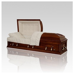 Some wood caskets feature details as elegant as those on expensive wood furnishings