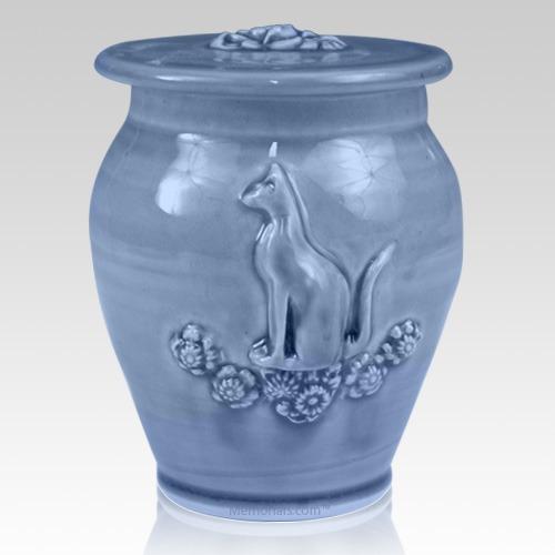 Kitty Cobalt Blue Ceramic Cremation Urn