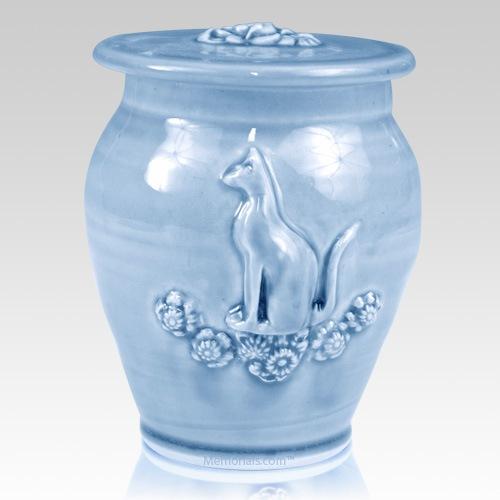 Kitty Sapphire Blue Ceramic Cremation Urn