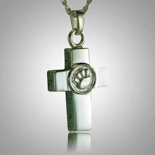 Cross Paw Print Memorial Jewelry