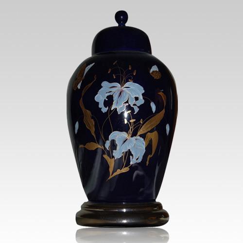 Orchid Blue Ceramic Cremation Urn
