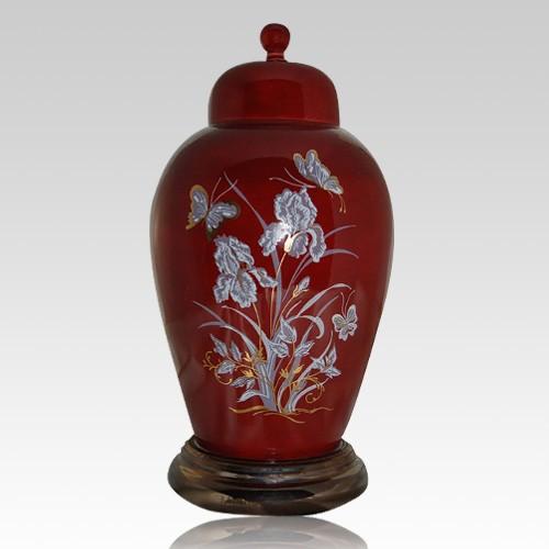 Iris Red Ceramic Cremation Urns