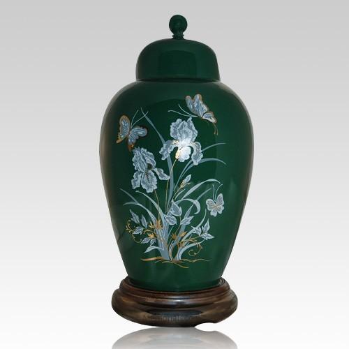 Iris Green Ceramic Cremation Urns