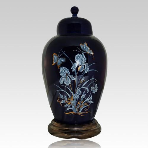 Iris Navy Ceramic Cremation Urns