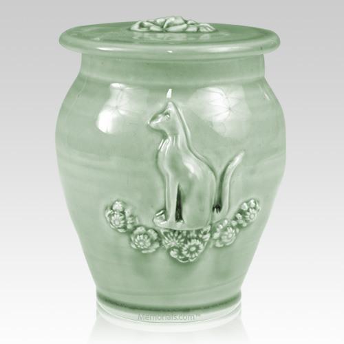 Kitty Celadon Blue Ceramic Cremation Urn