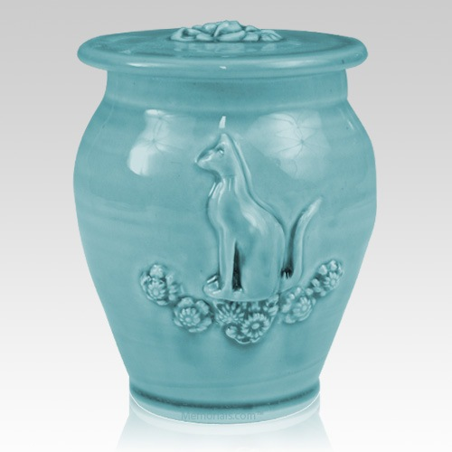 Kitty Weathered Blue Ceramic Cremation Urn