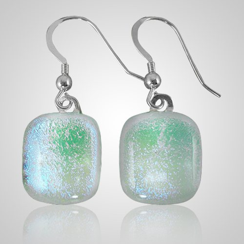 Clear Green Memorial Earrings