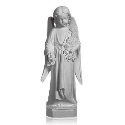 Angel With Flowers Marble Statues