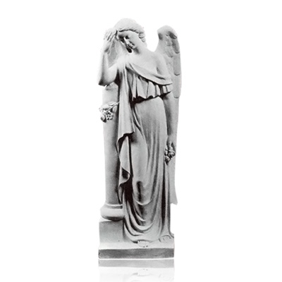 Angel with Column Small Marble Statues