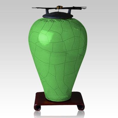 Raku Tall Aqua Companion Cremation Urn