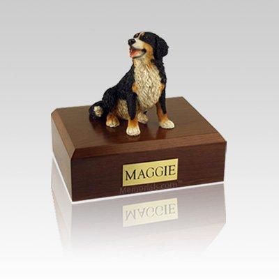 Bernese Mountain Sitting Small Dog Urn