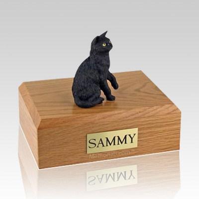 Black Sitting Large Cat Cremation Urn