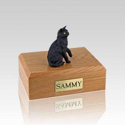 Black Sitting Small Cat Cremation Urn