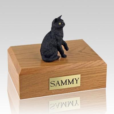 Black Sitting X Large Cat Cremation Urn