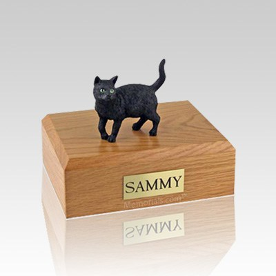 Black Standing Small Cat Cremation Urn