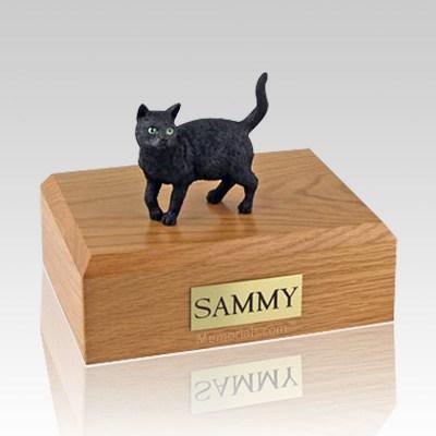 Black Standing Large Cat Cremation Urn