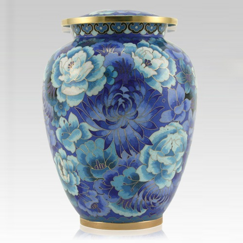Blue Flowers Elite Cloisonne Urn