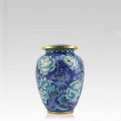 Blue Flowers Elite Keepsake Cloisonne Urn