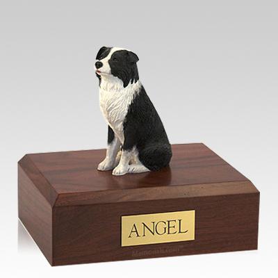Border Collie Sitting Large Dog Urn