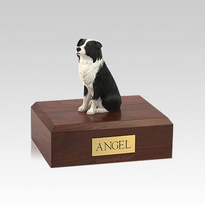 Border Collie Sitting Small Dog Urn