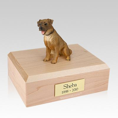 Border Terrier Sitting Large Dog Urn