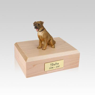 Border Terrier Sitting Small Dog Urn
