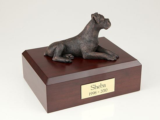 Boxer Bronze Ears Down Small Dog Urn