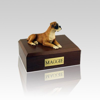 Boxer Ears Down Small Dog Urn