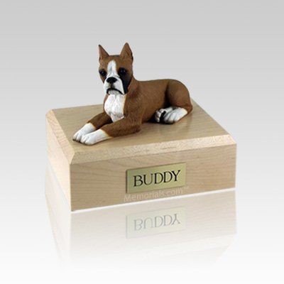 Boxer Fawn Ears Up Medium Dog Urn