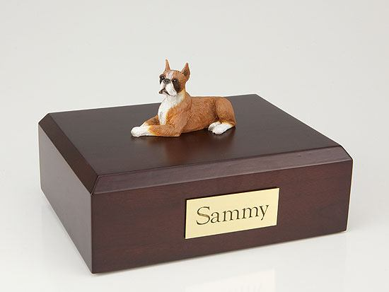 Boxer Fawn Lying Small Dog Urn
