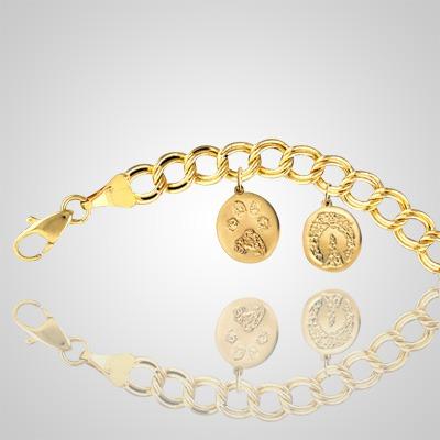 14k Yellow Gold Pet Print Bracelet - 7 inch