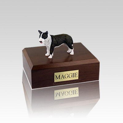 Bull Terrier Brindle Standing Small Dog Urn
