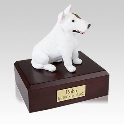 Bull Terrier White Sitting Large Dog Urn