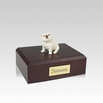 Bulldog White Sitting Small Dog Urn