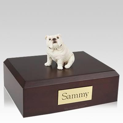Bulldog White Sitting X Large Dog Urn