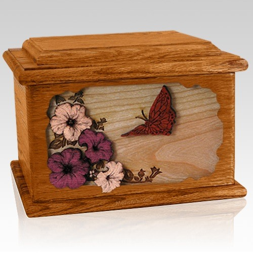 Butterfly Mahogany Memory Chest Cremation Urn