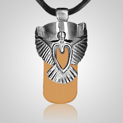 Angel Heart Brown Cremation Necklace