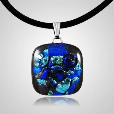 Cobalt Dichroic Square Glass Ash Pendant