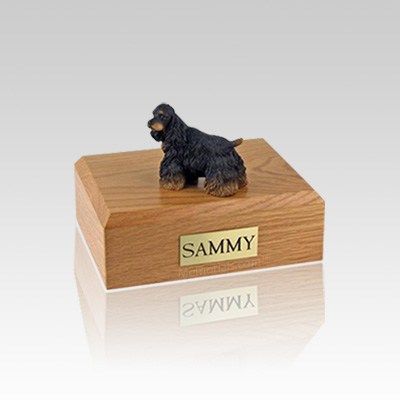 Cocker Black & Brown Small Dog Urn