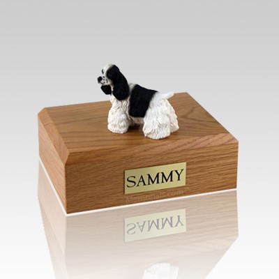 Cocker Black & White Large Dog Urn