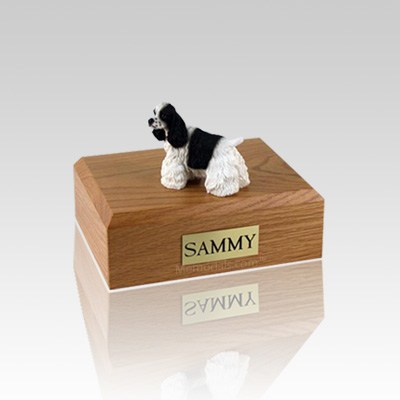 Cocker Black & White Small Dog Urn
